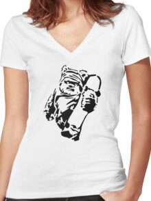 Jawa Skateboarder Stencil Women's Fitted V-Neck T-Shirt