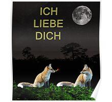ICH LIEBE DICH, Valentines day card foxs Poster