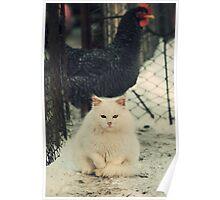 White Garfield Poster