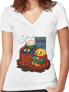 Finn and Jake Really Big Sweaters  Women's Fitted V-Neck T-Shirt