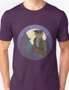Owl in Night Forest Unisex T-Shirt