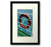 Orange Lifebelt on Holiday Cruise Ship Railings Framed Print