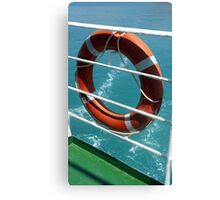 Orange Lifebelt on Holiday Cruise Ship Railings Canvas Print