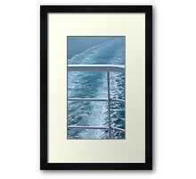 Holiday Cruise Ship Railings and Ocean Wake Waves Behind Framed Print