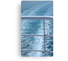 Holiday Cruise Ship Railings and Ocean Wake Waves Behind Canvas Print
