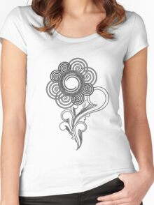 Flower Sketching Women's Fitted Scoop T-Shirt