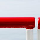 The red railing and the blue sea by Ronny Falkenstein