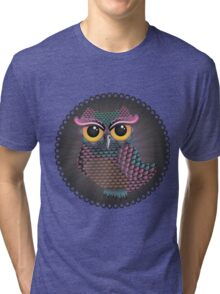 Pink and Blue Color Owl 2 Tri-blend T-Shirt