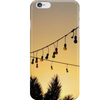 Colourful Light Bulbs and Palm Trees at Sunset iPhone Case/Skin