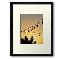 Colourful Light Bulbs and Palm Trees at Sunset Framed Print