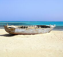 Wreck of Old Fishing Boat on Remote Desert Island Beach by HotHibiscus