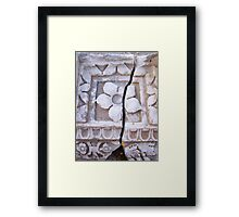 Crack Runs Through Carved Stone Flower Tablet Framed Print