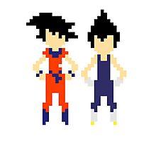 Pixel Goku & Vegeta Photographic Print