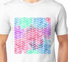 Bright Colorful Watercolor Split Chevron Unisex T-Shirt