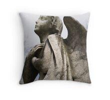 Angel memorial in winter - vertical Throw Pillow