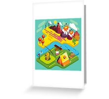 Mountain Flat Landscape with Tents Greeting Card