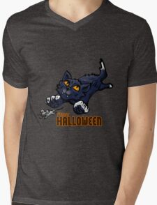 Spooky Animals Cat and Mouse Mens V-Neck T-Shirt