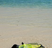 Yellow Flippers and Snorkel at Waters Edge by HotHibiscus