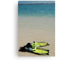Yellow Flippers and Snorkel at Waters Edge Canvas Print