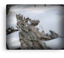 Snow on Rock Fence Canvas Print