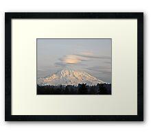 Lenticular Clouds over Mount Rainier Framed Print