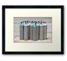Silver Scuba Diving Cylinder Tanks on the Dockside Framed Print