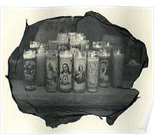 Religious candles polaroid transfer Poster