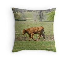 young calf all sad and dejected Throw Pillow
