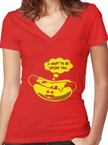 I Want To Be Inside You geek funny nerd Women's Fitted V-Neck T-Shirt