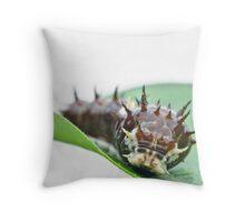 Caterpillar closeup on white Throw Pillow