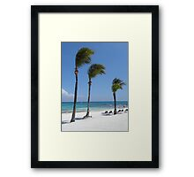 Tropical Swaying Palm Trees on White Sand Beach Scene Framed Print