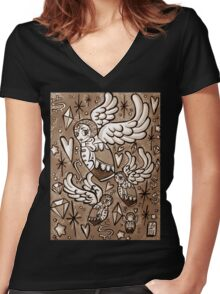 (Sepia) Wings of Desire Women's Fitted V-Neck T-Shirt