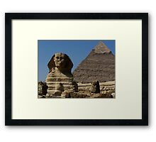 Great Sphinx Monument and Khafre Pyramid Giza Cairo Framed Print