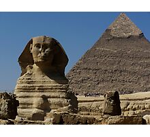 Great Sphinx Monument and Khafre Pyramid Giza Cairo Photographic Print