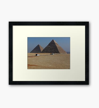 Tour Buses Crisscross in Front of the Giza Pyramids Cairo Framed Print