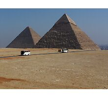 Tour Buses Crisscross in Front of the Giza Pyramids Cairo Photographic Print