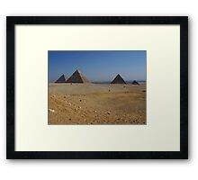 Giza Pyramids with Cairo City in the Distance Framed Print