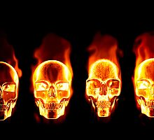 Flaming Skulls by clearviewstock