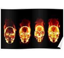 Flaming Skulls Poster