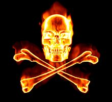 Flaming Skull & Crossbones - Pirates Ahoy! by clearviewstock