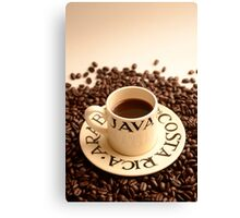 Barista Cup of Coffee and Costa Rica Arabica Beans Canvas Print