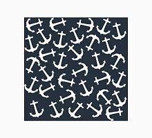 White Nautical Anchor on Navy Blue Background Classic T-Shirt