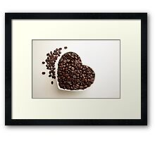 Coffee Lover Heart Shape Bowl of Fresh Coffee Beans Framed Print