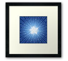 Star Card - Blue & White Framed Print
