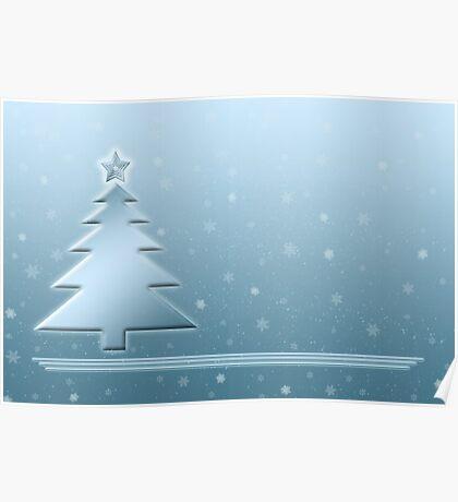 Ice Blue Christmas Scene Poster