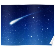 Blue Shooting Star - Make a wish Poster