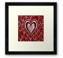 Red Metallic Hearts Framed Print