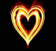 Flaming heart on Fire by clearviewstock