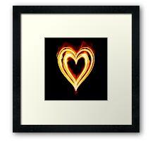 Flaming heart on Fire Framed Print