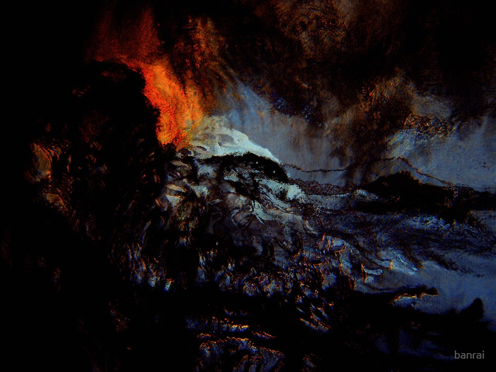beginning spirits look on... red hot ash smoldering in a raging sea by banrai